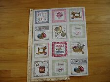 Make Do And Mend Sewing Machines Threads Cotton Quilt Fabric Panel Blocks OOP