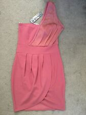 BRAND NEW DUSTY PINK DRESS WITH ONE SHOULDERS STRAP & WRAPOVER - SIZE S - BNWT