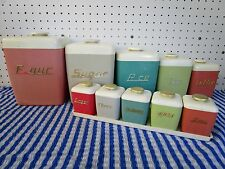 Retro Nally Ware  Harlequin Canister Set & Spice Set, Rockabilly Era 1950's