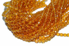 """TWO (2) 16"""" Strand 8mm Czech Fire Polished Crystals - Golden TOPAZ"""