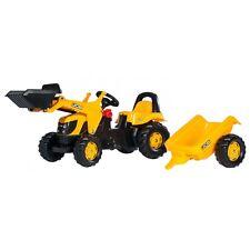 Rolly Toys JCB  Lader mit Anhänger und Frontlader  Traktor Trettraktor gelb