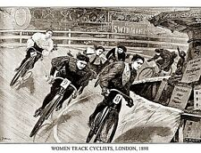 CYCLING ART PRINT Women Track Cyclists London 1898 Sports Pressee