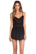 TULAROSA London Black Cotton Crochet Lace Hem Spaghetti Strap Mini Tunic Dress S