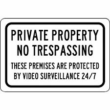 "Aluminum Metal Sign - Private Property No Trespassing 24/7 Surveillance 8"" X 12"""