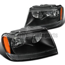 1999-2004 Jeep Grand Cherokee Euro Black Crystal Head Lights w/ Amber Reflector