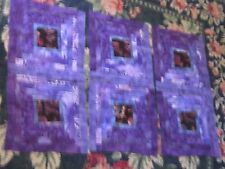 6 ornate handmade quilt blocks sewing quilting squares watercolor animals purple