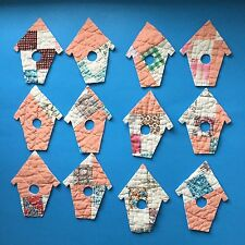 12 Birdhouse die cut outs Vintage cutter quilt Appliqué Ornament Peach Multi