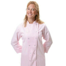 12 Button Front Female Fitted Pastel Pink Uniform Chef Coat Jacket Medium New