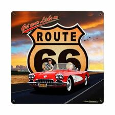 Larry Grossman Route 66 Chevrolet Corvette Retro Sign Blechschild Schild Groß!