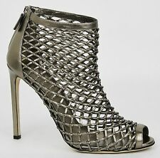 $1460 New Gucci Metallic Leather Woven Open Toe Ankle Boots 42/12 353730 9640