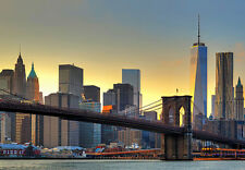 366x254cm Gigante Mural De Pared Foto Wallpaper New York City Brooklyn Bridge Sunset