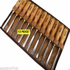 12pc Wood Carving Chisel Gouge Set Brass*Slew*V Parting*Spoon*