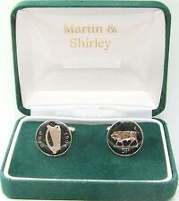 1994 Ireland cufflinks Old Irish 5p coins in Black & Silver