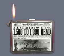 TITANIC NEWSPAPER FRONT PAGE STORY CIGARETTE CASE LIGHTER SLIVER METAL WALLET