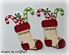 CRAFTECAFE STOCKING XMAS paper piecing premade scrapbook card die cut WOLFFEY5