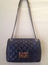 "Michael Kors ""Sloan"" Chain Shoulder Blue Python-Embossed Leather Bag *NWT*"