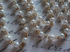 Bead Chain White Pearls 4mm Glass Beads on Gold Bead Chain - Qty 18""