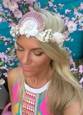 Pearl Ivory Tone Sea Shell Mermaid Crown Head Band Choochie Choo Hippy Bohemian