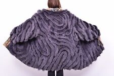 AMAZING BLUE FOX FUR COAT REVERSIBLE - COLORED IN BLUE PURPLE VIOLET - 3XL