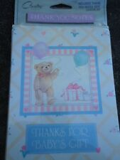 "Carlton Cards Baby Thank You Notes Bear with Balloons and Gift Box 8 Pcs 3"" x 5"""
