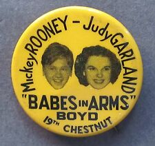 rare circa 1939 JUDY GARLAND & MICKEY ROONEY BABES IN ARMS movie pinback button