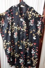 1980's Caftan by Mademoiselle -XL/Short- Black Voile/Floral Print-VG- RITZY-SALE
