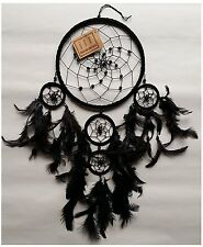 Handmade Suede Leather Dream Catcher by FormBox - LARGE 17cm Black