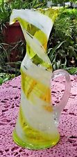 VINTAGE SMITH'S OLD TIMER HAND BLOWN YELLOW & WHITE GLASS PITCHER - RUFFLED EDGE