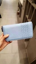 Bottega Veneta Intrecciato Nappa Light Blue Leather Zipper Around Wallet