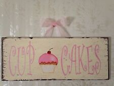 "Shabby Distressed Glitter ""CUPCAKES"" Sign Plaque. 11"" X 4 1/2"""