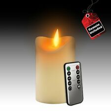 Flameless LED Candle 5 Inch - Real Wax Flickering Candle Motion - Remote On/Off