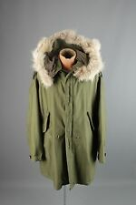 Vtg 1951 Dated Korean War US Army Fish Tail M-51 Parka Wolf Fur Hood sz M #2180