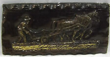 Ploughman Ploughing With Horses Brass & Bronze Effect Country Wall Plaque Plate