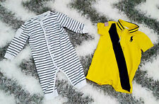 SET OF 2 RALPH LAUREN BABY ONE PIECE ONESIE LOT YELLOW STRIPE POLO 6 MONTHS