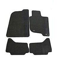 VW Polo 2002-2009 Tailored Rubber Car Mat Set Black WITH Black Trim
