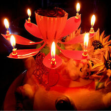 Amazing Flower Lotus Lights Music Musical Birthday Candle Cake Topper Gift 3C