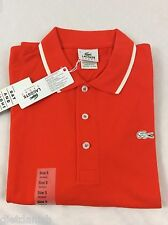 Lacoste Men's SPORT Polo Shirt NWT Orange Braise Blanc Size EU 7 US XL