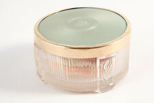 VTG Art Deco Guilloché Green Celluloid & Glass Vanity Powder Jar w/ Puff 30s-40s