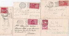 * REGNO V.E.III - 5 Bustine per biglietti da visita, affrancatura 20c. 1927/1935