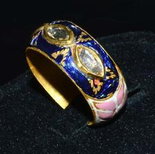 █ ANTIQUE 22K SOLID GOLD █ MOGHUL PINK BLUE ENAMEL DIAMOND COCKTAIL BAND RING █