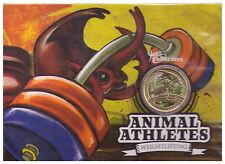 2012 $1 UNC Coloured Coin on Card - Animal Athletes - Weightlifting - Perth Mint
