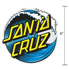6 Inch Santa Cruz Classic Wave Dot Skateboard Sticker Decal Screaming Hand OG