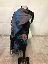 """New Large 68""""x28"""" Wome 4 Ply Cashmere Shawl Wrap Scarf Sacrves Roses patterned"""
