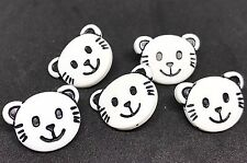 5 NOVELTY CAT FACE WHITE BUTTONS FOR SEWING KNITTING CRAFT AND SCRAP BOOKING