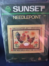 """Sunset Needlepoint The Rooster My Crow 11"""" x 14"""" 6360 Jean Day Package #2"""