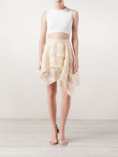 MAIYET Skirt Silk Linen Chiffon Layered Metallic Cream Mini Short Cocktail 36/4