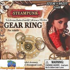 STEAM PUNK VINTAGE VICTORIAN GEAR COG RING METALLIC - fancy dress accessory