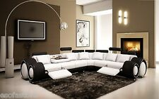 Divani Casa 4087 - Modern Leather Sectional Sofa White & Black Free Shipping