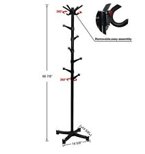 New SONGMICS Coat Rack Purse Rack Hall Tree with 14 Rotating Plastic Hook Black