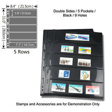 NEW 9-hole TWO SIDED 5 POCKETS BLACK STAMP & BANKNOTE ALBUM Pages Pack of 5